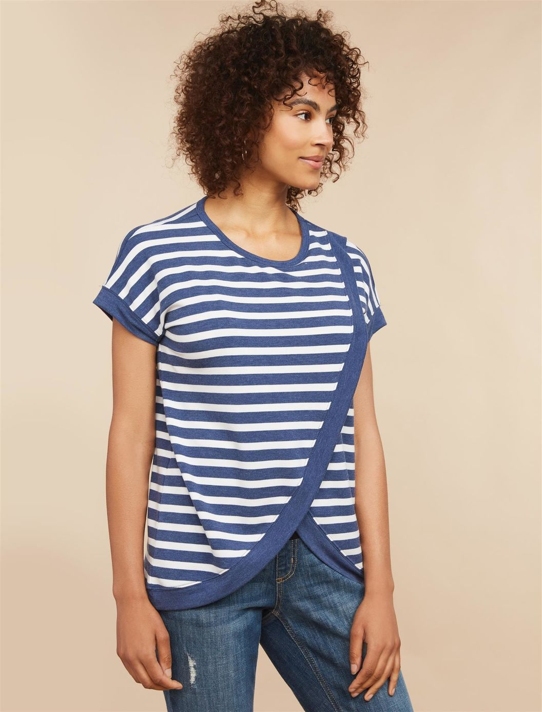 Striped Lift Up Drape Front Maternity Top