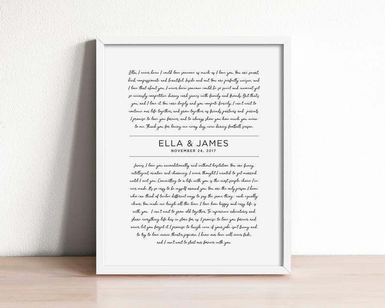 Wedding anniversary gift- wedding vow art