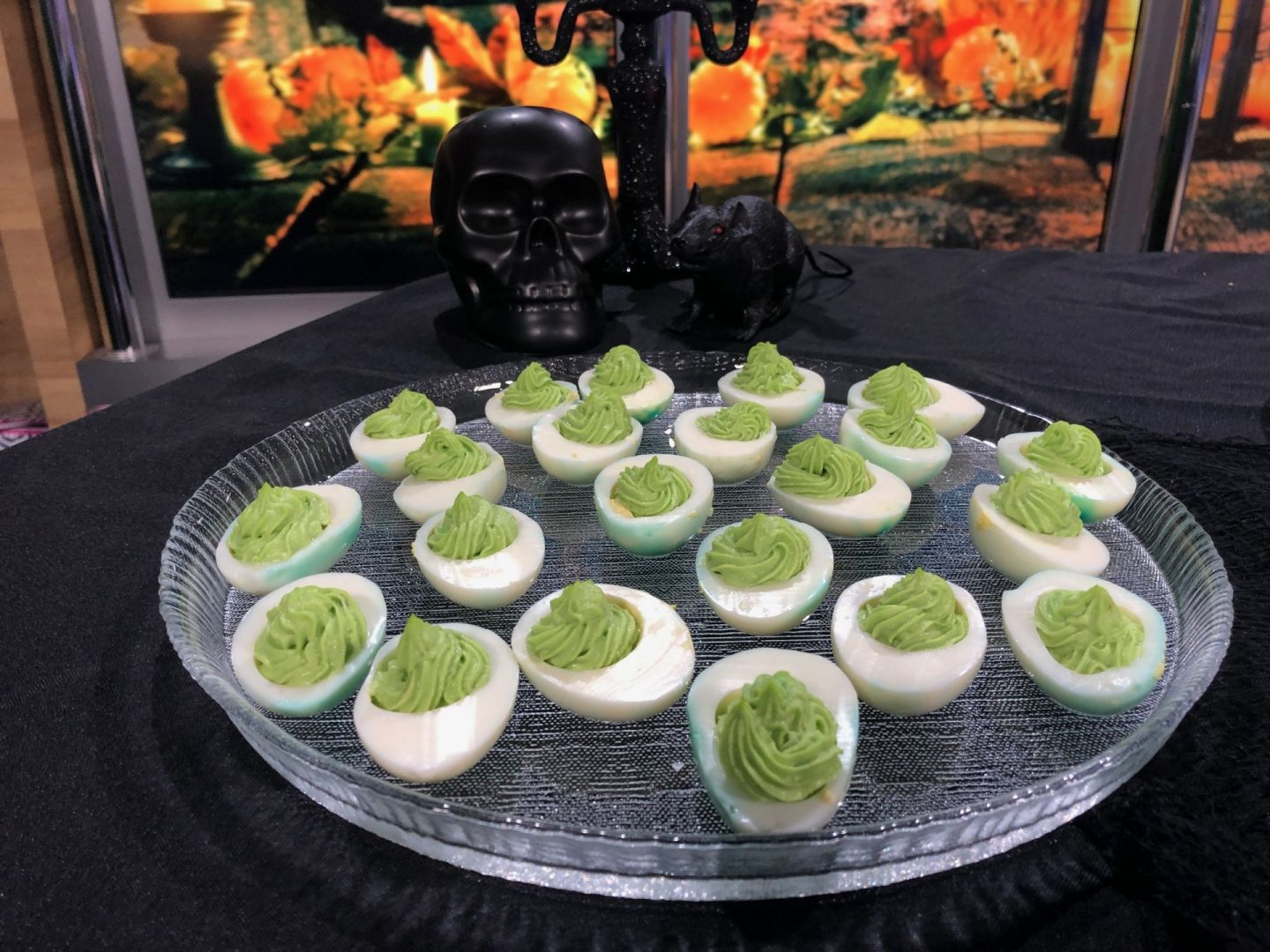 Avocado Deviled Eggs for Halloween