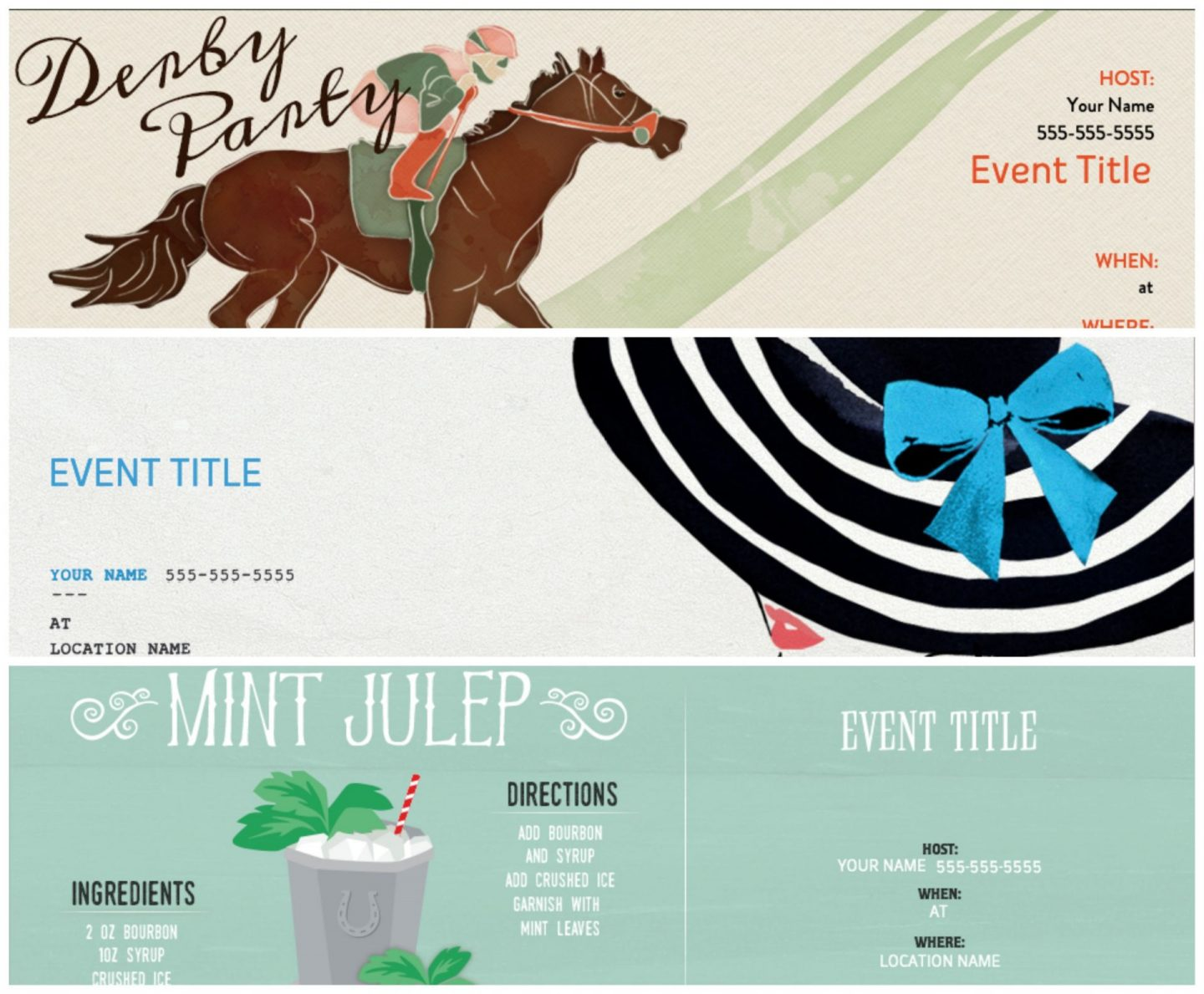 Virtual Derby Party Invitations