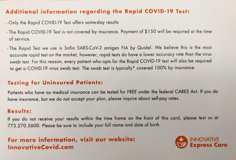 Rapid COVID testing information