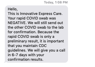 Negative COVID test results