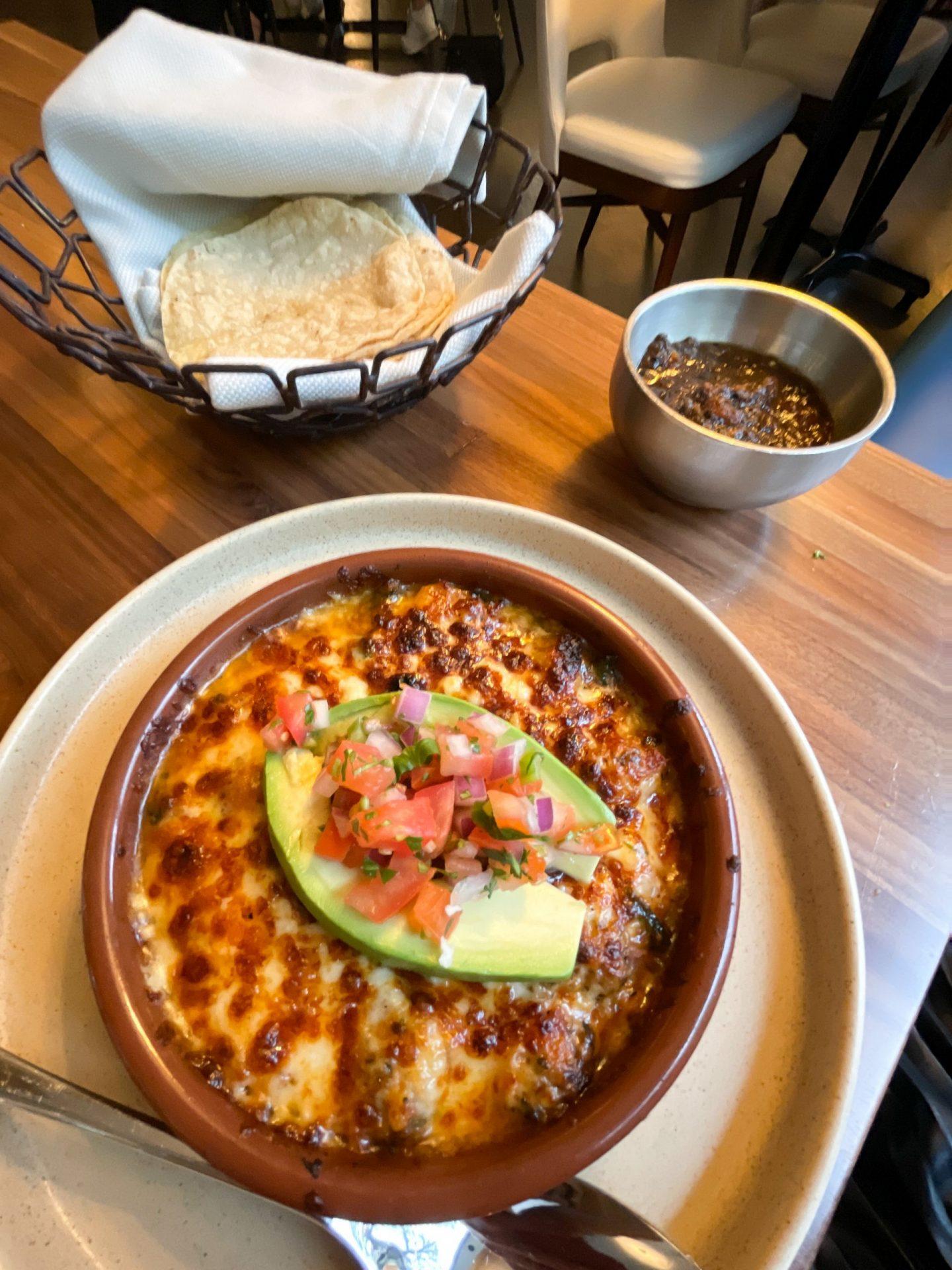 Queso Fundido appetizer at Mesa Urbana