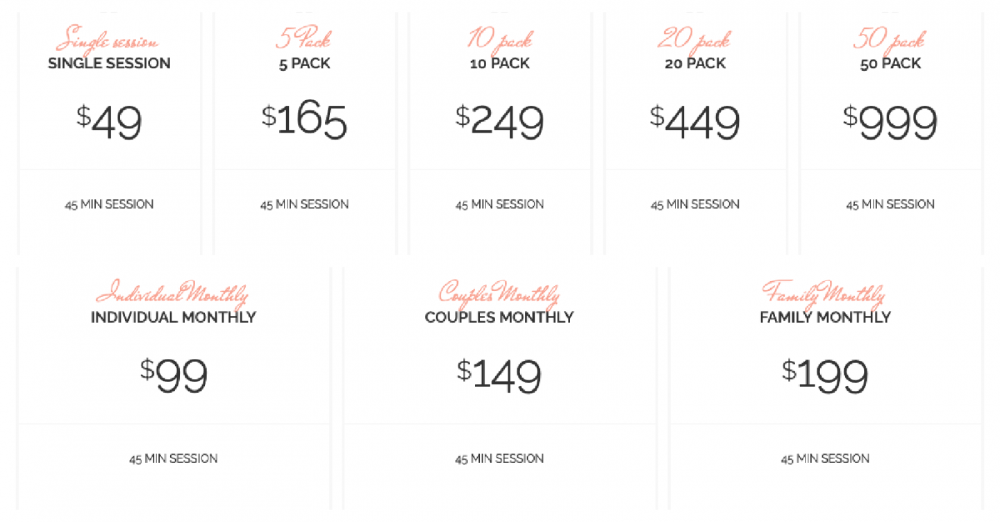 North Shore Salt Therapy pricing